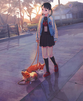 Фото Девочка со щенками на поводке стоит на дороге