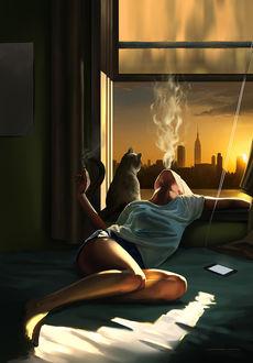 Фото Девушка лежит на постели у открытого окна, выпуская со рта сигаретный дым и рядом с ней сидит кошка, by lorantart