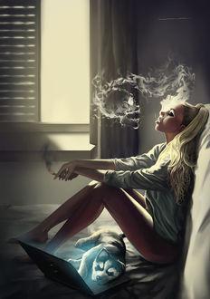 Фото Девушка сидит на постели, выпуская со рта сигаретный дым и рядом с ней лежит собака перед ноутбуком, by lorantart