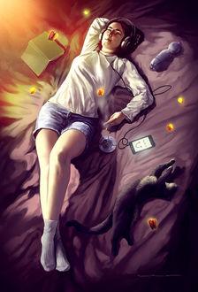 Фото Девушка в наушниках лежит на постели, рядом с ней лежит кошка, by lorantart
