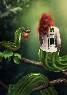 Фото Девушка - киборг на дереве со змеей, сидящей рядом, которая держит яблоко, by Avi-li