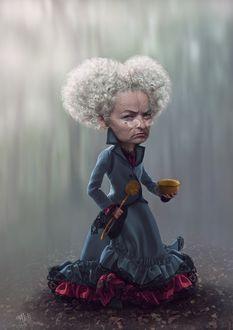 Фото Злая старушка Брунгильда Арнольдовна - персонаж в стиле фильмов про Алису Тима Бертона, с сумашествинкой, с чашкой и ершиком, художник