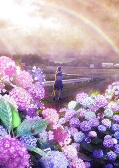 Фото Школьница смотрит на радугу, стоя на дороге, by Kupe