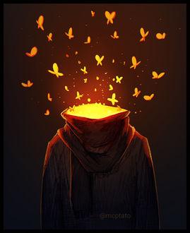 Фото Человек рассыпается золотыми бабочками, by mcptato