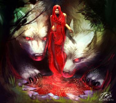 Фото Девушка в красном и два огромным белых волка, by Bluemisti