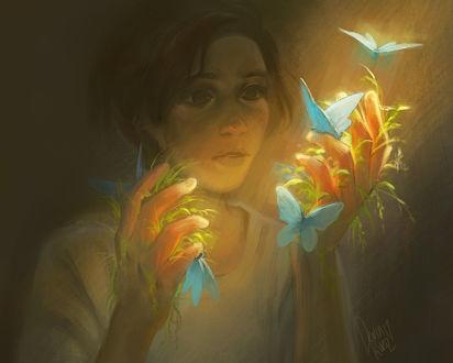 Фото Девушка смотрит на руки в голубых бабочках и произростающей на пальцах травы, by TamberElla