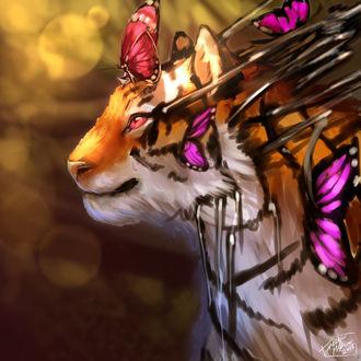 Фото Тигр с бабочками на голове, by Bluemisti