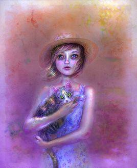 Фото Девочка в шляпе, с кошкой на руках, by thegirlcansmile