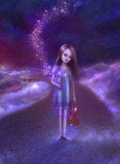 Фото Девочка со скрипкой и книгой, с вылетающими буквами, в руке, стоит на дорожке, by thegirlcansmile