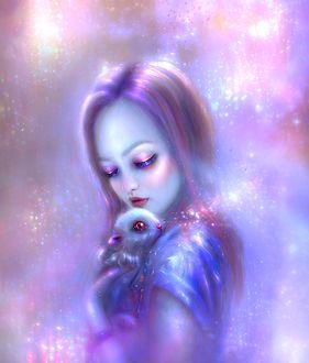 Фото Девочка с кроликом в руках, by thegirlcansmile