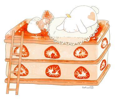 Фото Девочка и пухлый белый кролик спят на куске клубничного торта, by tofuvi
