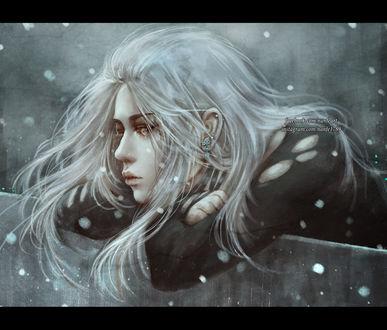 Фото Девушка под падающим снегом, by NanFe