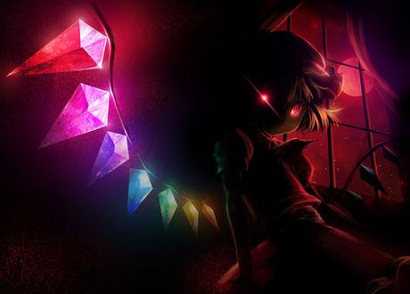 Фото Фландре Скарлет / Flandre Scarlet с горящими глазами стоит в темной комнате из игры Touhou Project / Проект Восток / Тохо, by Ecocobo
