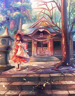 Фото Хакурей Рейму / Hakurei Reimu стоит перед храмом из игры Проект «Восток» / Тохо / Touhou Project, art by Kirero