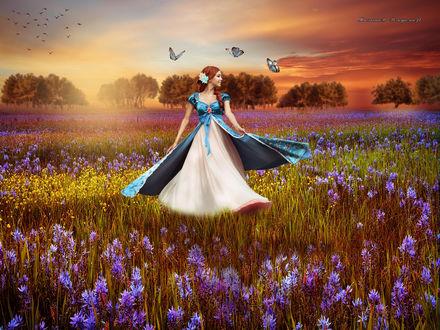 Фото Девушка на цветочной поляне на восходе радуется летнему дню
