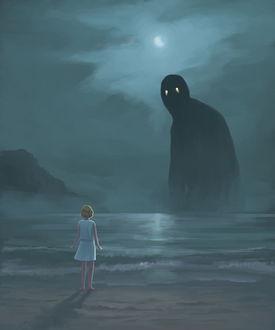 Фото Монстр выплывает из тумана на побережье моря перед девочкой, автор Kenneth Sofia