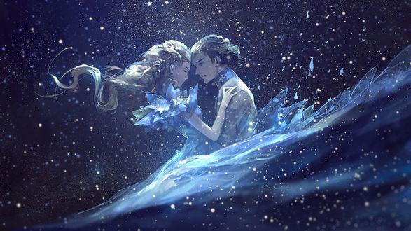 Фото Золушка и принц на фоне ночного неба, by akaLilu