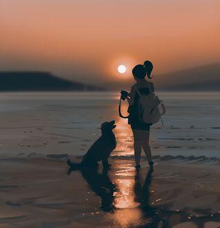 Фото Девушка с собакой на берегу моря на закате, by snatti