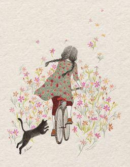 Фото Девочка едет на велосипеде и за ней бежит кот