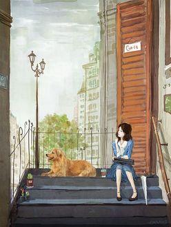 Фото Девушка сидит рядом с рыжей собакой на ступеньках
