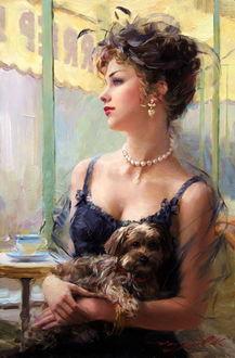 Фото Утонченная девушка сидит у окна с собачкой на руках, художник Константин Разумов
