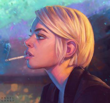 Фото Белокурая девушка с короткой стрижкой, с сигаретой во рту, by AngelGanev