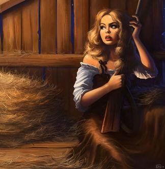Фото Девушка с ружьем сидит на сеновале, by Kate Danilova