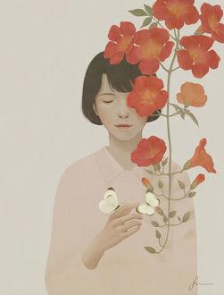 Фото Девушка с бабочками и веткой красных цветов, by Jiwoon Pak