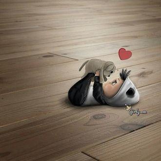 Фото Ребенок в костюмчике панды со своим щенком лежит на полу, by girly M