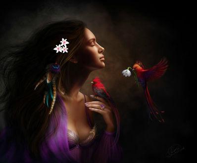 Фото Девушка с закрытыми глазами, с цветами в волосах, с птицей на руке и птичкой, которая держит в клюве весенний цветок, by AlenaEkaterinburg