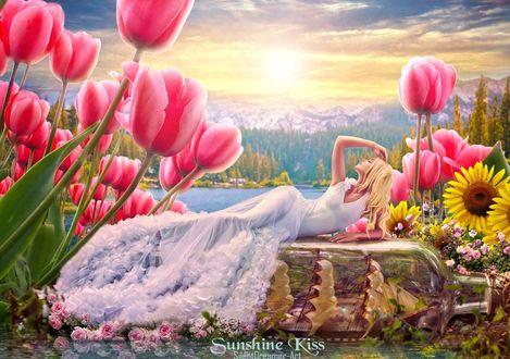 Фото Девушка в длинном платье лежит среди розовых тюльпанов на фоне восхода солнца, by SilentDreamer-Art