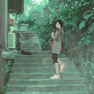 Фото Девушка поднимается по ступенькам, где лежит черный котенок