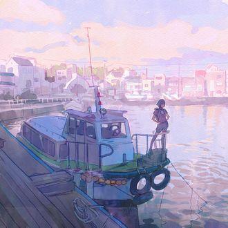 Фото Девушка стоит на борту катера, by Kuvshinov Ilya