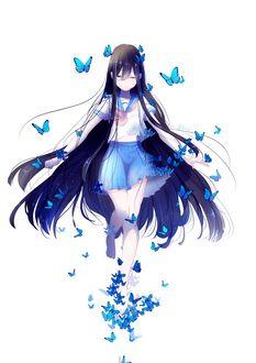 Фото Девушка с длинными темными волосами, в школьной форме, в окружении голубых бабочек, by lluluchwan
