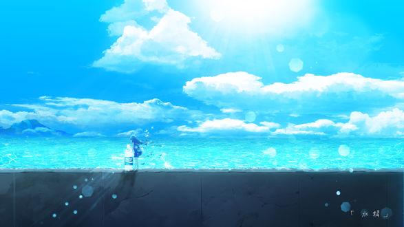 Фото Девочка стоит около огромное бутылки с водой на каменном заборе у моря, by Y_Y