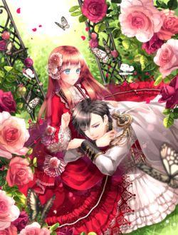 Фото Девушка в пышном красном платье глядит парня в мундире, улегшегося к ней на колени, сидя в саду среди роз, над ними порхают бабочки