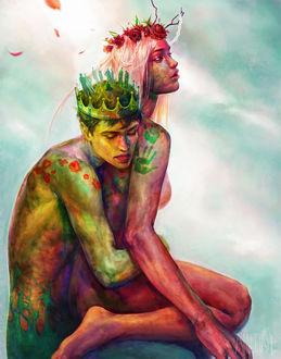 Фото Парень в короне, на голове которого стоят люди и один человек сидит в позе лотоса, обнимает красную девушку в венке из роз, сидящую на его коленях, на фоне неба, by zephy0