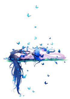 Фото Девушка с длинными темными волосами, в школьной форме, в окружении голубых бабочек, спит, by lluluchwan