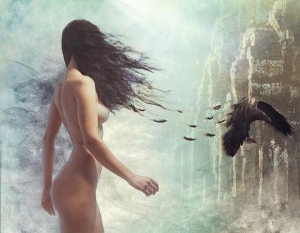Фото Обнаженная девушка стоит перед вороном. Фотограф Andrew Gnezdilov