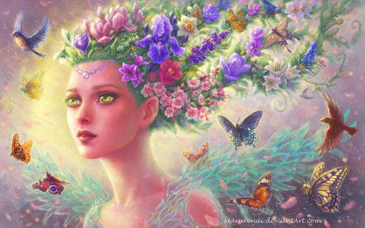 Фото Зеленоглазая девушка-весна с цветами в волосах, в окружении бабочек и птиц, by Marurenai