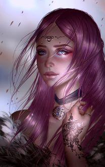 Фото Девушка с длинными сиреневыми волосами, by Aoleev