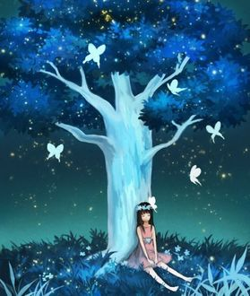 Фото Девочка сидит у дерева и вокруг порхают бабочки