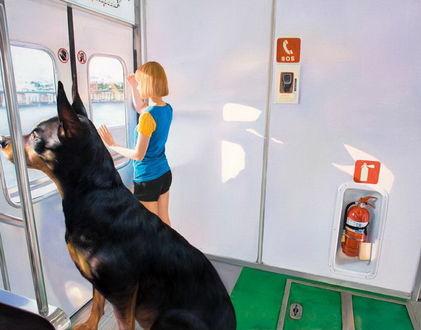 Фото Девушка и собака смотрят в окно, находясь в тамбуре вагона метро, художник Woo Jeong Jae / Ву Джонг Дже