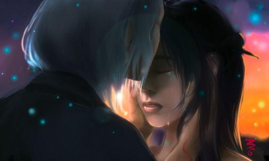 Фото Белокурый парень целует плачущую темноволосую девушку, by KiJaein