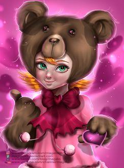 Фото Рыжеволосая и зеленоглазая девочка в образе медведя, by magato98