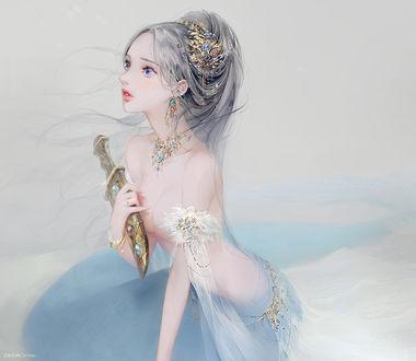 Фото Полуобнаженная девушка с пепельными волосами и синими глазами, из которых капают слезы, в украшениях, держит кинжал в руке, by DADACHYO