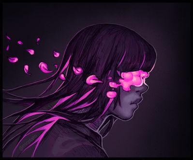Фото Девушка с лепестками, закрывающими ее глаза, by mcptato