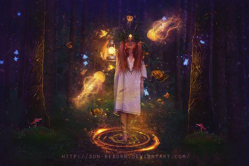 Фото Девушка со светящимся фонарем, в окружении светящихся медуз и птиц, стоит в таинственном лесу, by Son-Reborn
