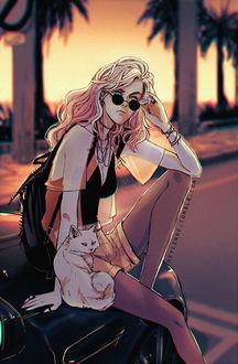Фото Девушка в очках, с рюкзаком за спиной и кошка сидят на капоте авто, by Heylenne