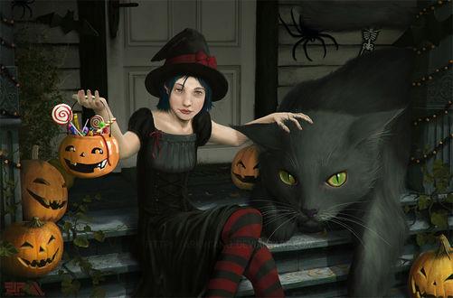 Фото Ведьмочка и огромная черная кошка на крыльце дома в Хэллоуин, by FJFT-Art
